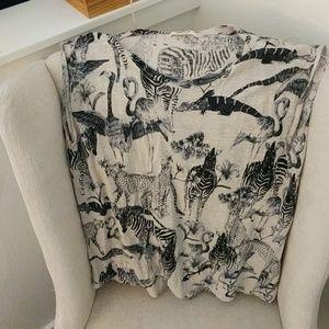 Madewell linen animal print top M